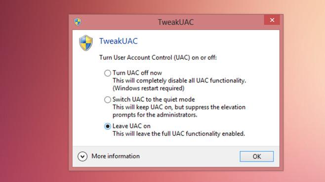 TweakUAC: Benutzerkonten-Steuerung auf höchste Stufe stellen ©COMPUTER BILD