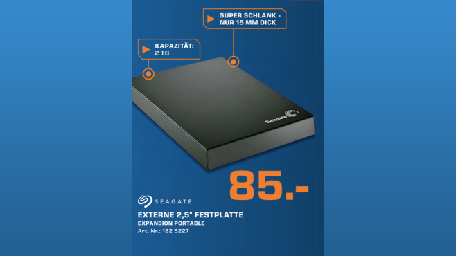 Seagate Expansion Portable USB 3.0 2TB (STBX2000401) © Saturn