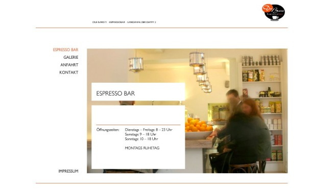 Screenshot Homepage Due Baristi Espressobar © Due Baristi Espressobar