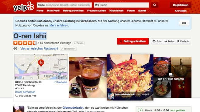 Screenshot Yelp © Yelp