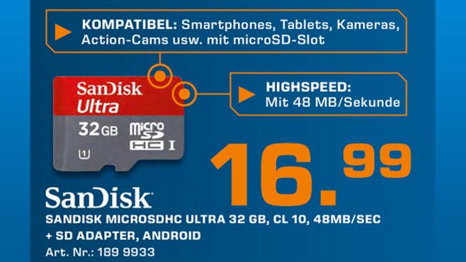 Sandisk Mobile Ultra microSDHC 32GB Class 10 ©Saturn