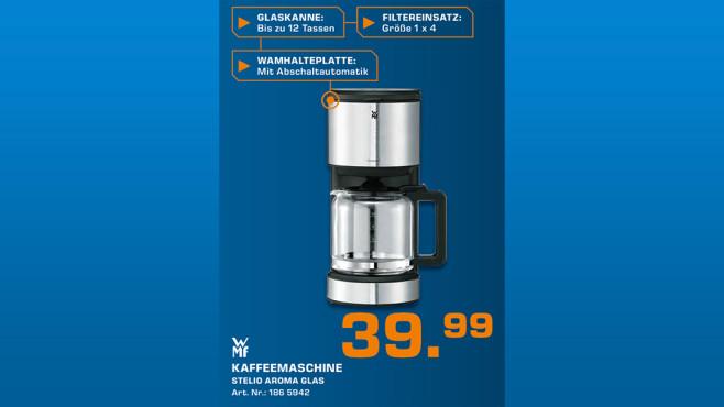 WMF Stelio Filterkaffeemaschine Aroma Glas ©Saturn