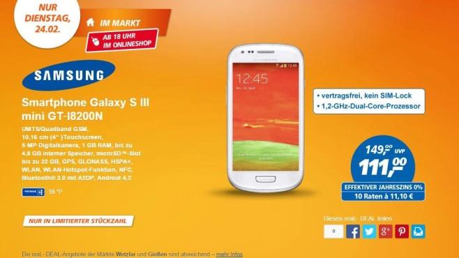 Dienstag: Samsung Galaxy S3 Mini ©Real