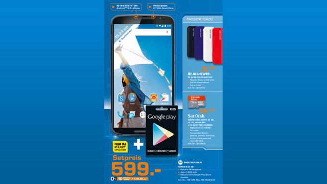 Motorola Nexus 6 + 25-Euro-Gutschein ©Saturn