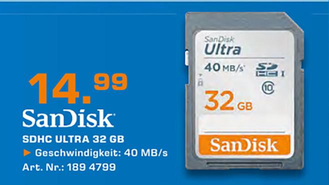 Sandisk SDHC Ultra 32GB Class 10 ©Saturn