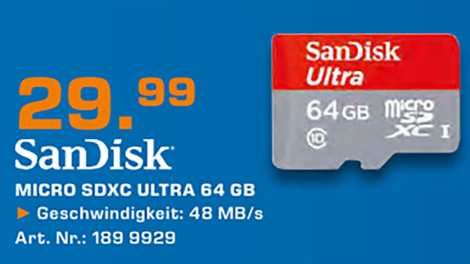 Sandisk microSDXC 64GB Class 10 + SD-Adapter ©Saturn