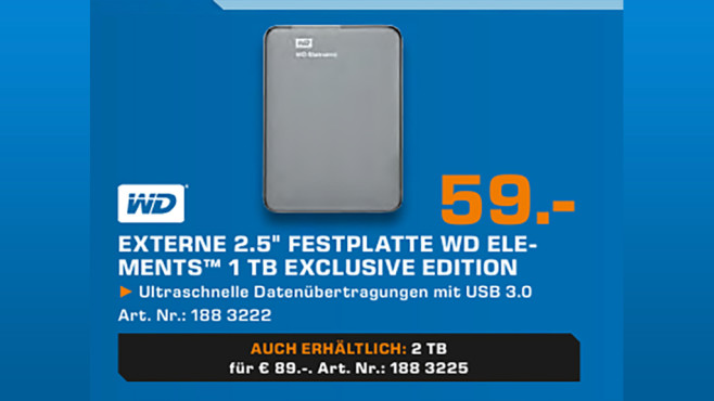 Western Digital Elements Portable Exclusive Edition 1TB © Saturn