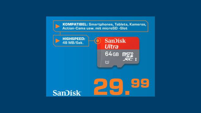 Sandisk microSDXC 64GB Class 10 ©Saturn