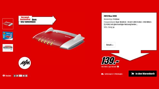 AVM FRITZ!Box 3490 ©Media Markt