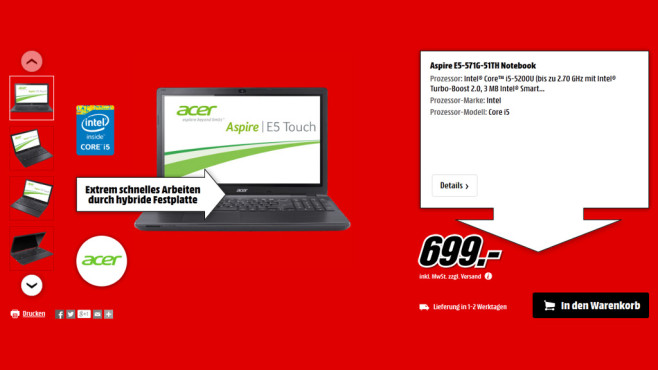 Acer Aspire E5-571G-51TH © Media Markt