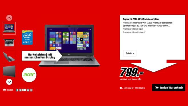 Acer Aspire E5-771G-7014 ©Media Markt