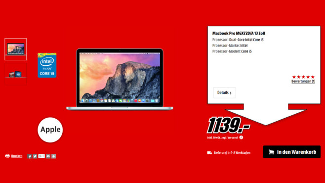 "Apple MacBook Pro 13"" Retina 2014 © Media Markt"