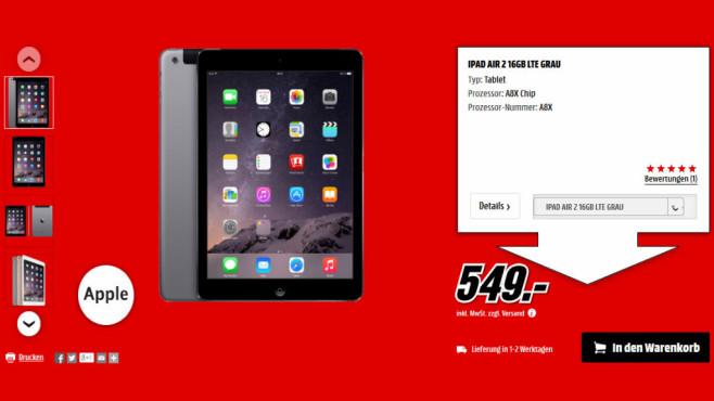 Apple iPad Air 2 16GB WiFi + 4G ©Media Markt