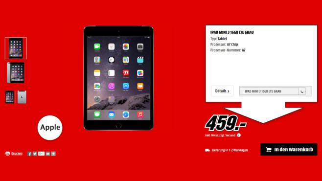 Apple iPad mini 3 16GB WiFi + 4G © Media Markt