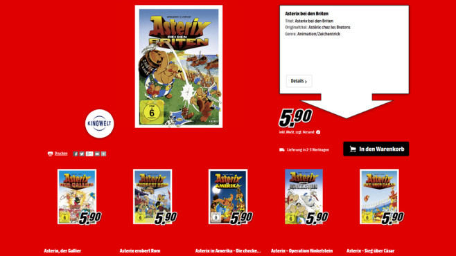 Asterix-DVDs ©Media Markt