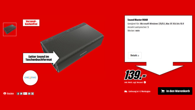 Creative Sound Blaster Roar © Media Markt