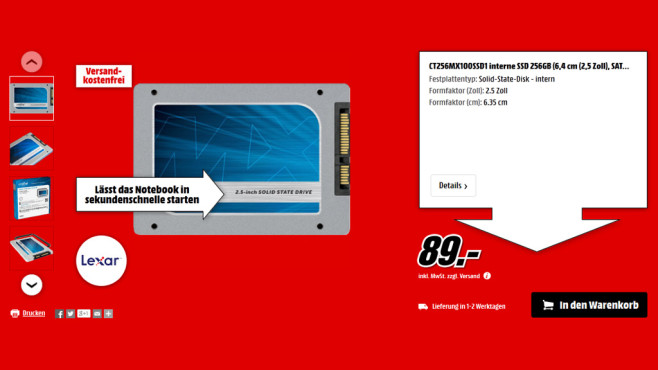 Crucial MX100 256GB © Media Markt