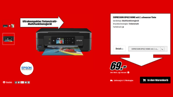 Epson Expression Home XP-422 + Patrone © Media Markt