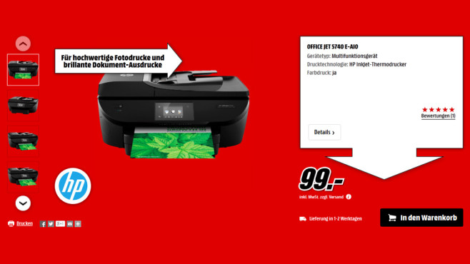 HP Officejet 5740 © Media Markt