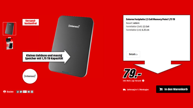 Intenso Memory Point 1,75 TB © Media Markt