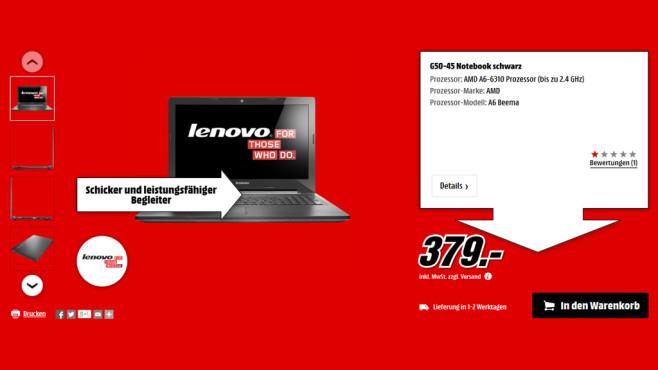 Lenovo IdeaPad G50-45 ©Media Markt