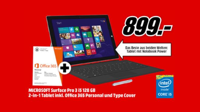 Microsoft Surface Pro 3 i5 128GB inkl. Tastatur und Office 365 ©Media Markt