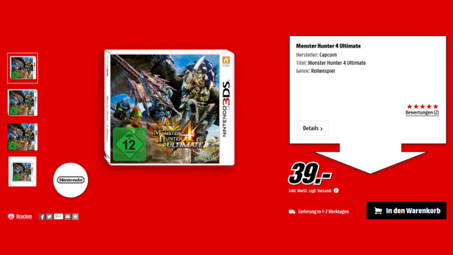 Monster Hunter 4 Ultimate (3DS) © Media Markt