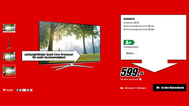 Samsung UE50H6270 ©Media Markt