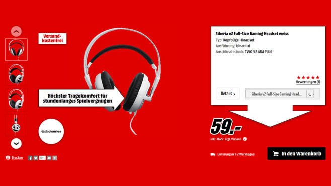 SteelSeries Siberia v2 Full-Size Cross-Platform © Media Markt