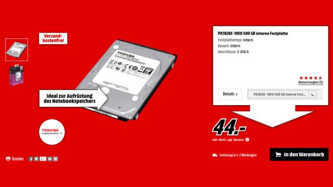 Toshiba MQ01ABD050 500GB ©Media Markt