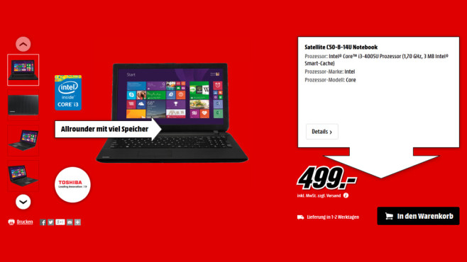 Toshiba Satellite C50B14U © Media Markt