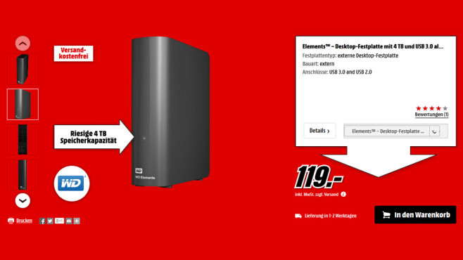 Western Digital Elements Desktop 4TB © Media Markt