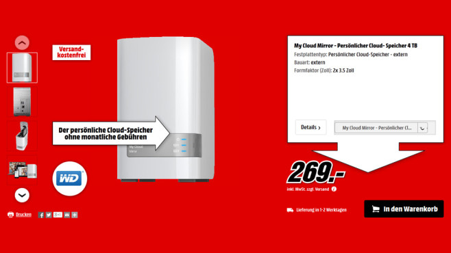 Western Digital My Cloud Mirror 4TB © Media Markt