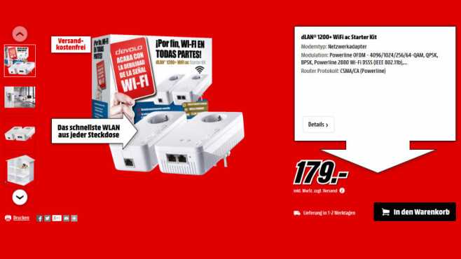 devolo dLAN 1200+ WLAN-AC Starter Kit © Media Markt