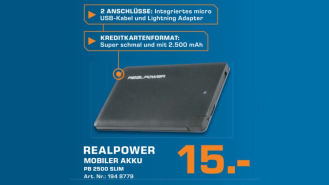 Mobiler Akku: Realpower PB 2500 Slim ©Saturn