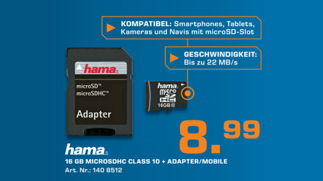 Speicherkarte: Hama MicroSDHC Class 10 ©Saturn