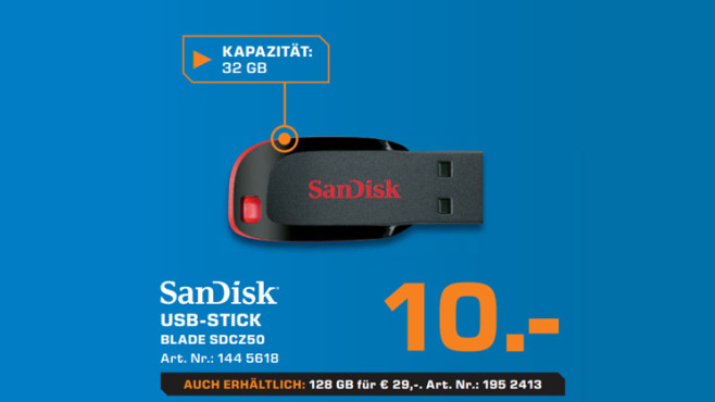 USB-Stick: SanDisk Blade SDCZ50 ©Saturn