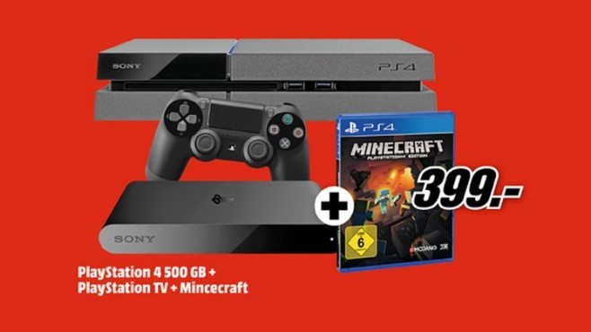 PlayStation 4 + PlayStation TV + Minecraft © Media Markt