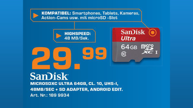 Sandisk Ultra Android microSDXC 64GB Class 10 UHS-I © Saturn
