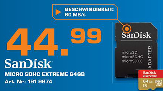 Sandisk microSDXC Mobile Extreme 64GB Class 10 UHS-I © Saturn