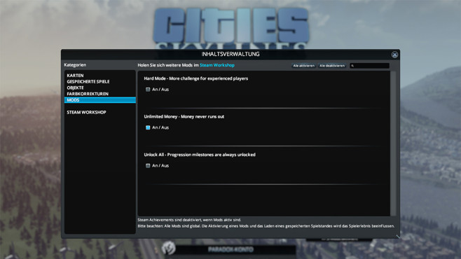 Mods: Cities – Skylines © Steam, Paradox Interactive