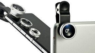 Für das perfekte Selfie: Smartphone-Objektive im Überblick Anstecklinsen für unter 10 Euro: Das Clip-on-Kamera-Set von Elfenstall bietet verschiedene Linsen und eine Halterungsklemme. ©Elfenstall