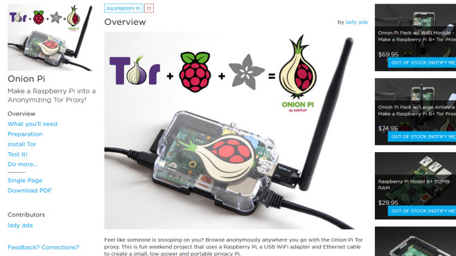 Onion Pi: Der Tarnkappen-Router © learn.adafruit.com – Screenshot