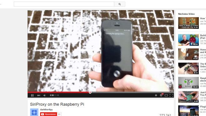 Raspberry Pi: Garagenöffner mit Siri © darkther4py via YouTube – Screenshot