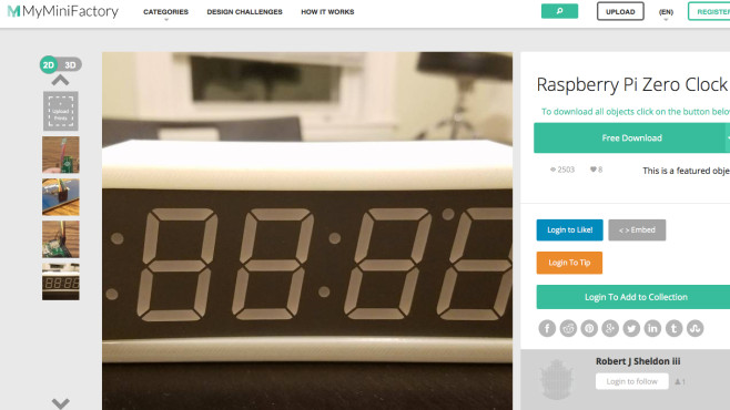 Raspberry Pi Zero Clock: Minimalistische Digitaluhr © Robert J Sheldon iii via myminifactory.com / Screenshot
