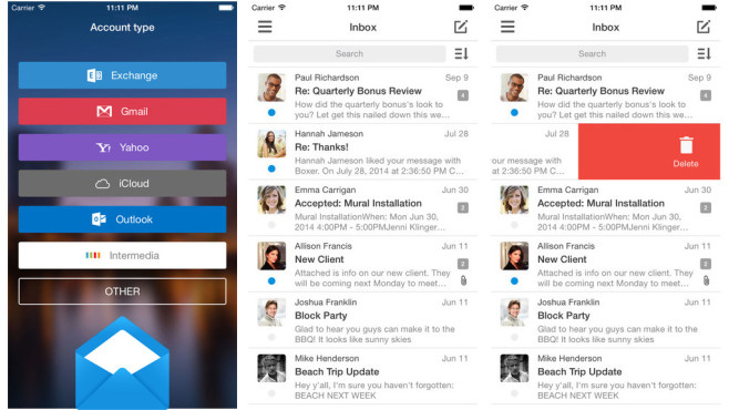 Boxer For Gmail, Outlook, Exchange, Yahoo, Hotmail, IMAP and iCloud Email ©Taskbox