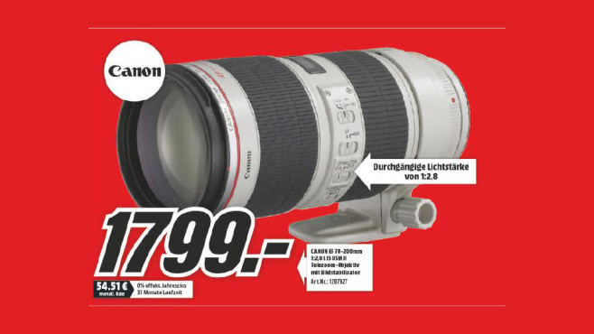 Canon EF 70-200mm f2.8 L IS II USM ©Media Markt
