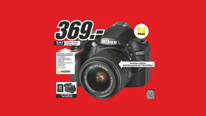 Nikon D3200 Kit 18-55 mm [Nikon G VR II] + Karte + Tasche © Media Markt