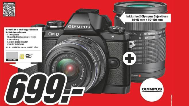 Olympus OM-D E-M10 Kit 14-42 mm II R + 40-150 mm silber/silber ©Media Markt