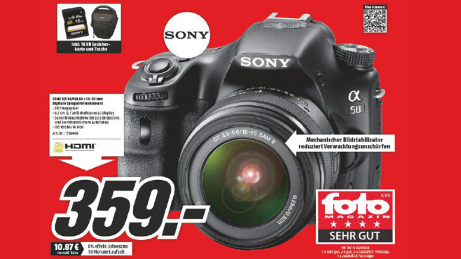 Sony Alpha 58 Kit 18-55 mm + Karte + Tasche ©Media Markt